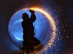 A welder welds