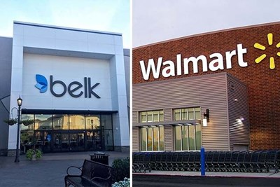 Storefronts of Belk and Walmart
