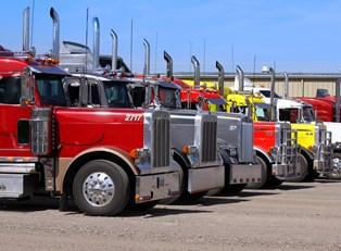 trucks lined up in a parking lot