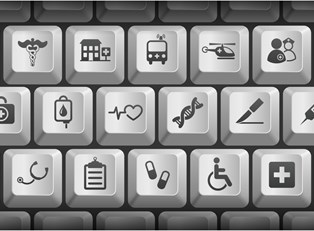 a keyboard with medical images instead of letters on the keys