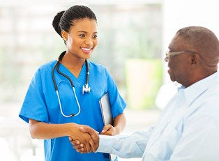 A medical professional explains what a nurse practitioner is to a new patient.