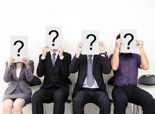 Question marks take the place of the heads of 4 HR managers