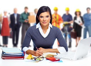 A girl doing paperwork smiles as people with different occupations stand in the background