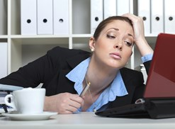 Woman gets stressed at work
