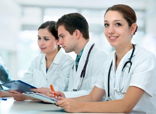 Medical students study together